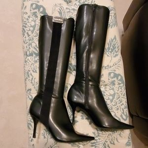 Calvin Klein tall leather black boots size 7.5 EUC